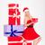 lány · mikulás · kalap · ül · tart · ajándék · doboz - stock fotó © deandrobot