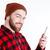 portre · gülen · sakallı · adam · kulaklık - stok fotoğraf © deandrobot