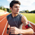 close up portrait of a sports man running with earphones stock photo © deandrobot