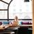 jonge · ernstig · zakenvrouw · vergadering · tabel · cafe - stockfoto © deandrobot