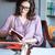 retrato · mulher · madura · sessão · secretária · máquina · de · escrever · olhando - foto stock © deandrobot