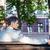 üzletember · ül · pad · hátulnézet · portré · jóképű - stock fotó © deandrobot