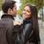 happy couple walking outdoors stock photo © deandrobot