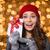 boldog · barna · hajú · nő · pulóver · karácsony · kalap - stock fotó © deandrobot