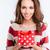 jonge · glimlachende · vrouw · geschenk · vrouw · meisje - stockfoto © deandrobot