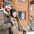 fiatal · pár · áll · együtt · fából · készült · móló - stock fotó © deandrobot