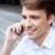 vrolijk · jonge · zakenman · praten · mobiele · telefoon · outdoor - stockfoto © deandrobot