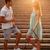 człowiek · kobieta · mówić · schody · kolor · kobiet - zdjęcia stock © deandrobot
