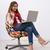 jonge · mooie · zakenvrouw · vergadering · bureaustoel · grijs - stockfoto © deandrobot