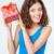 uśmiechnięty · młoda · kobieta · szkatułce · portret - zdjęcia stock © deandrobot