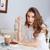 güzel · bir · kadın · yeme · tatlı · içme · kahve · kafe - stok fotoğraf © deandrobot