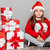 fogad · ajándék · mikulás · portré · aranyos · kislány - stock fotó © deandrobot