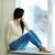задумчивый · женщину · сидят · окна · девушки · домой - Сток-фото © deandrobot