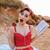 gyönyörű · tő · felfelé · lány · olvas · könyv - stock fotó © deandrobot