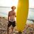 sörfçü · genç · plaj · sörf · bakıyor · dalgalar - stok fotoğraf © deandrobot