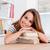portré · mosolyog · lány · dől · könyvek · osztályterem - stock fotó © deandrobot