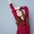 学生 · 少女 · ポーズ · 赤 · シャツ - ストックフォト © deandrobot
