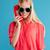 portret · radosny · elegancki · kobieta · mówić · telefonu · komórkowego - zdjęcia stock © deandrobot