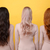 back view image of young three ladies stock photo © deandrobot