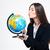 morena · mujer · de · negocios · global · mapa · manos · comunicación - foto stock © deandrobot