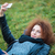 portré · boldog · fiatal · lány · göndör · haj · elvesz · izolált - stock fotó © deandrobot