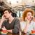 jonge · man · mobiele · telefoons · restaurant · vergadering · tabel · telefoon - stockfoto © deandrobot