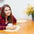 ochtend · persoon · drinken · koffie · ontbijt · tabel - stockfoto © deandrobot