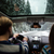 beautiful couple driving in car through winter forest stock photo © deandrobot