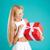 fiatal · szőke · nő · lány · nyitás · ajándék · doboz · boldog - stock fotó © deandrobot