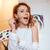 mutlu · kadın · ressam · ayakta · tuval · sanatçı - stok fotoğraf © deandrobot