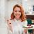 женщину · еды · торт · магазин · кафе - Сток-фото © deandrobot