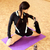 young beautiful fit woman stretching on yoga mat at gym stock photo © deandrobot