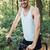 dikey · görüntü · bisikletçi · orman · adam · bakıyor - stok fotoğraf © deandrobot