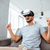 hombre · mentiras · sofá · virtual · realidad - foto stock © deandrobot