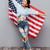 kız · ABD · bayrak · gülen · vatansever - stok fotoğraf © deandrobot