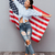 alegre · jovem · EUA · bandeira · cinza - foto stock © deandrobot