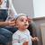 kislány · ül · otthon · boldog · kicsi · baba - stock fotó © deandrobot