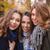 smiling girlfriends standing in autumn park stock photo © deandrobot