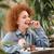retrato · sorridente · mulher · marrom · cabelos · cacheados - foto stock © deandrobot