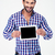 portrait of a smiling man showing tablet computer screen stock photo © deandrobot