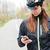 női · motoros · visel · bicikli · sisak · portré - stock fotó © deandrobot