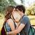 pár · szeretet · csók · csukott · szemmel · erdő · közelkép - stock fotó © deandrobot