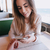 immagine · donna · sorridente · data · cafe · seduta · tavola - foto d'archivio © deandrobot