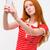 csinos · szórakoztató · vörös · hajú · nő · lány · készít · vicces · arc - stock fotó © deandrobot