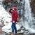 красивый · человека · ходьбе · водопада · гор · зима - Сток-фото © deandrobot