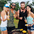 boldog · barátok · szórakozás · barbecue · buli · iszik - stock fotó © deandrobot