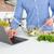 человека · синий · рубашку · кухне · домой - Сток-фото © deandrobot