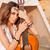 primer · plano · nina · guitarra · aislado · blanco · fondo - foto stock © deandrobot