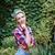 mosolyog · csinos · pinup · lány · áll · kert - stock fotó © deandrobot
