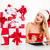 woman in santa costume with gift boxes writing on clipboard stock photo © deandrobot